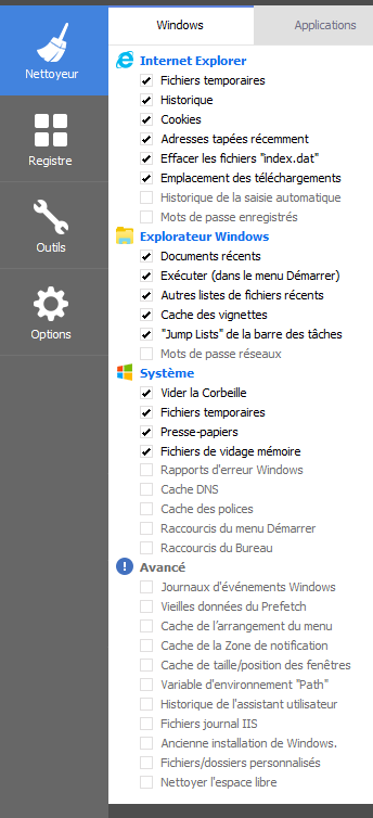 aide configuration ccleaner 6