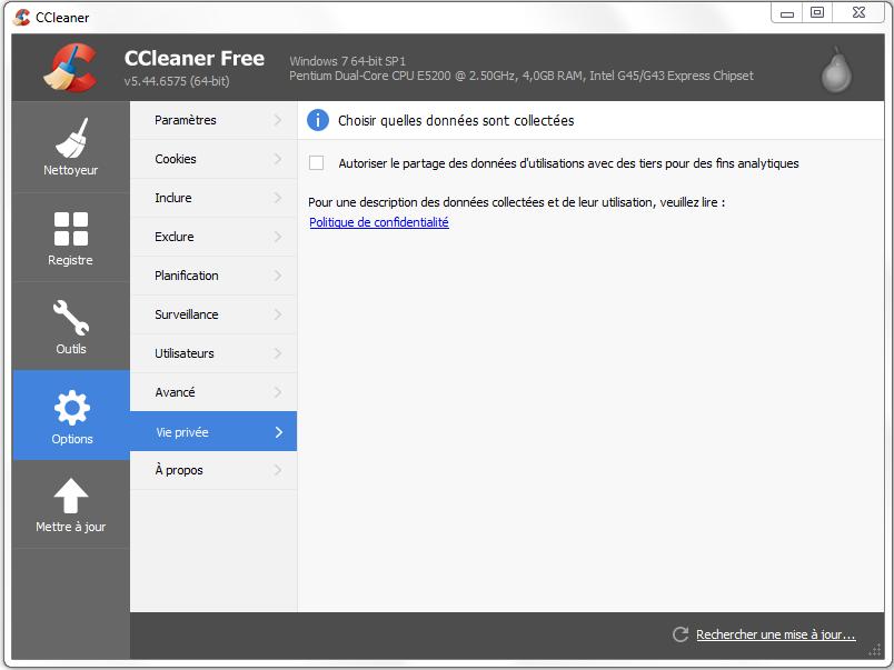 aide configuration ccleaner vie privée