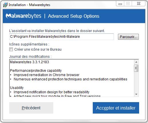 aide installation malwarebytes 2